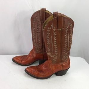 Cowtown Boots Shoes - Cowtown Womens Brown Lizard Cowboy Boots 6.5B